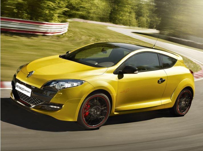 Желтый Рено Меган RS Спорт вид спереди